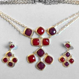 Statement Faceted Purple Necklace Earrings Set